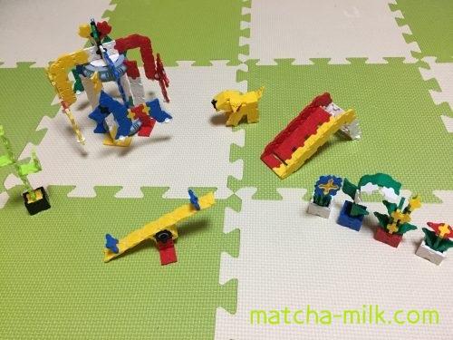 メリーゴーランド、遊具、犬、植物